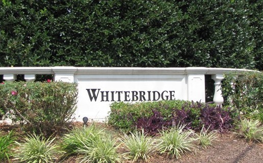 Whitebridge neighborhood sign at the entrance on Davis Drive.